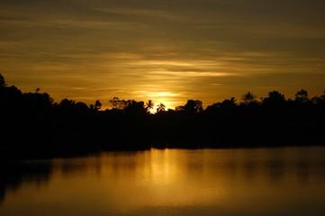 Lake at night or twilight photo image