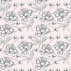 Seamless pattern  with black and white peonies