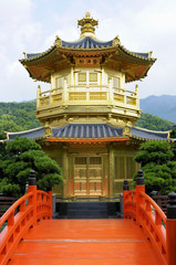 Golden Pagoda with red bridge