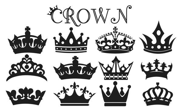 Crown Silhouette Set Vector