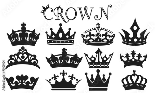 """Her King Svg His Queen Svg King And Queen Svg Svg Design: """"Crown Silhouette Set Vector"""" Stock Image And Royalty-free"""