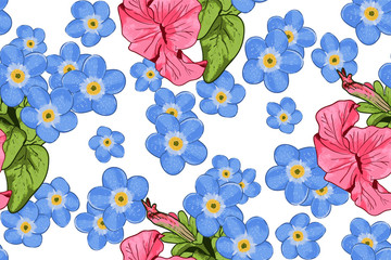 Wildflowers blooming delicate forget-me-not flowers  background.