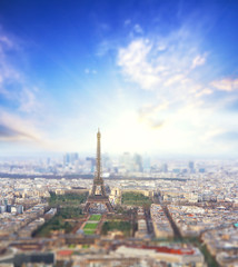 Aerial View of Paris skyline and Eiffel tower with sunrise on a background, France. Business, Love and travel concept