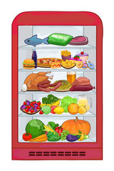 Fridge with food. The set products. Vector illustration