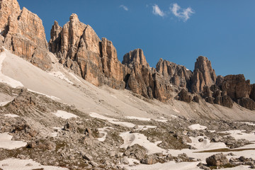 Lagazuoi range in Dolomites, Italy