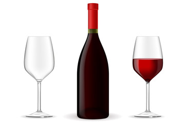 Bottle of red wine with glasses