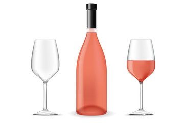 Bottle of rose wine with a glass
