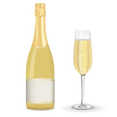 Bottle of champagne with blank label and a glass
