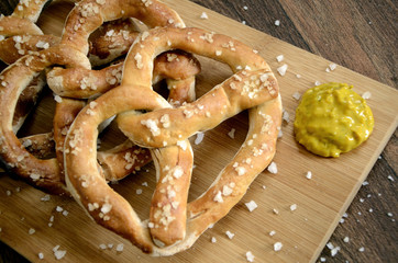 Bavarian German Pretzel Bar Snacks and Mustard
