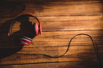 Headphones laid on a desk