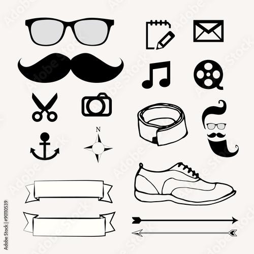 hipster vector set icons mustache glasses beard scissors