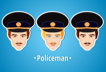 Set of vector illustrations of a policeman. Policeman. The man's face. Icon. Flat icon. Minimalism. The stylized man. Occupation. Job. Uniforms, police cap. The mustachioed man.