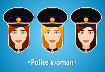 Set of vector illustrations of a girl police. Woman police. The girl's face. Icon. Flat icon. Minimalism. The stylized girl. Occupation. Job. Uniforms, police cap.