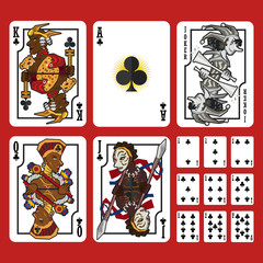 Club Suit Playing Cards Full Set, include King Queen Jack and Ace of Club
