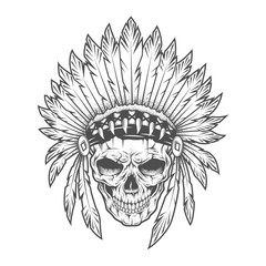 Indian skull with feathers. Vector art.