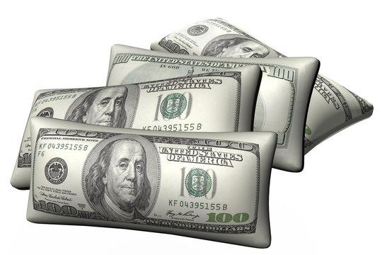 Cushions stylized under hundred-dollar bills isolated  on a white background