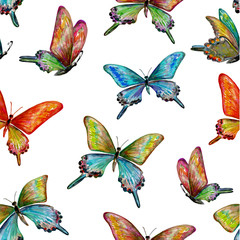 seamless texture with of cute butterflies. watercolor painting.