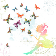 Fototapete - greeting card with fairy with butterflies. watercolor painting.