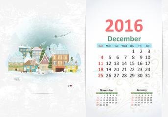 Cute sweet town. calendar for 2016, December