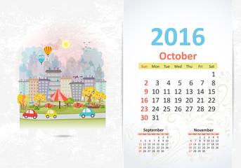 Cute sweet cityscape. calendar for 2016, October