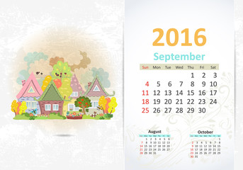 Cute sweet town. calendar for 2016, September