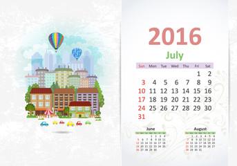 Cute sweet cityscape. calendar for 2016, July