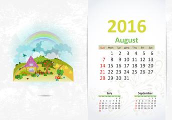 Cute sweet home. calendar for 2016, August