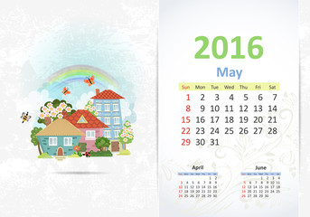 Cute sweet town. calendar for 2016, May