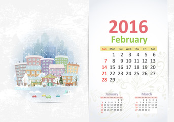 Cute sweet cityscape. calendar for 2016, February