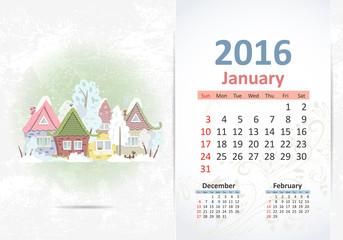 Cute sweet town. calendar for 2016, January