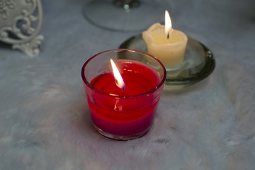 Red and white aromatic candles.