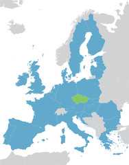 Europe and European Union map with indication of Czech Republic