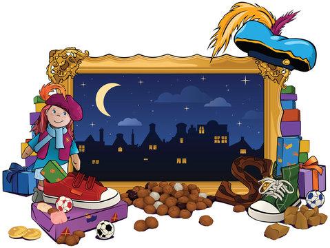 Sinterklaas lijst met snoepgoed en cadeaus.