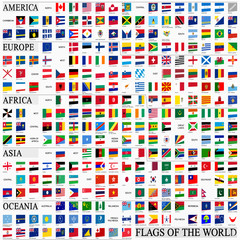 World flags in perspective, by continents. (make flags longer/shorter or warp to modify perspective)
