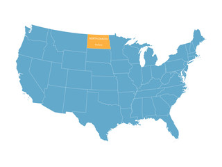 blue vector map of United States with indication of North Dakota
