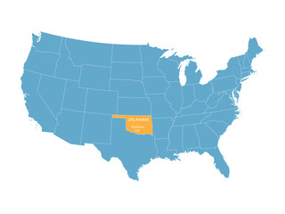 blue vector map of United States with indication of Oklahoma
