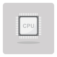 Vector of flat icon, cpu chip for computer on isolated background