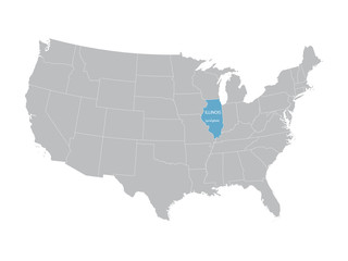 vector map of United States with indication of Illinois
