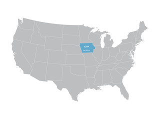 vector map of United States with indication of Iowa