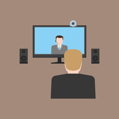 Man watching online meeting with web-camera