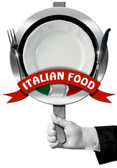 Italian Food - Sign with Hand of Chef / Hand of chef with white glove holding a sign with text Italian Food, silver cutlery, empty plate and italian flag. Isolated on white background