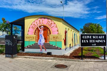 Facade of the Clive Square bus terminal. Napier town