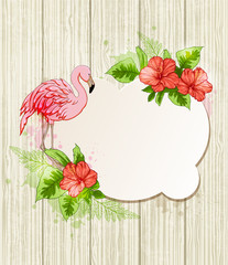 Tropical flowers and pink flamingo