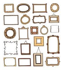 Hand drawn vintage frames made in vector outline
