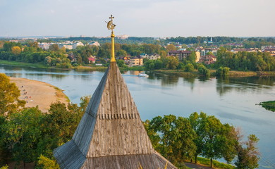 View of the city of Yaroslavl and the Volga river to the monastery's belfry