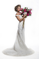 Bride with a bunch of flowers