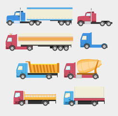 Trucks set. Flat style vector icons.