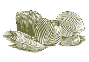 Woodcut Vegetable Still Life