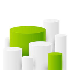 Abstract background with white and green cylinders
