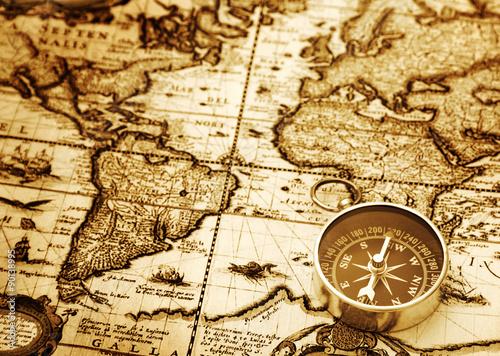 Superb Compass On Vintage Map
